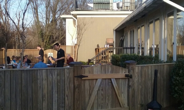 The outdoor patio at Magnolias at the Mill