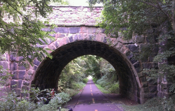The old stone arch over the trail at Clark's Gap