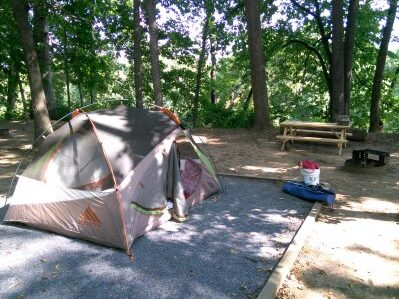 Our campsite at Outlanders River Camp near Luray, VA