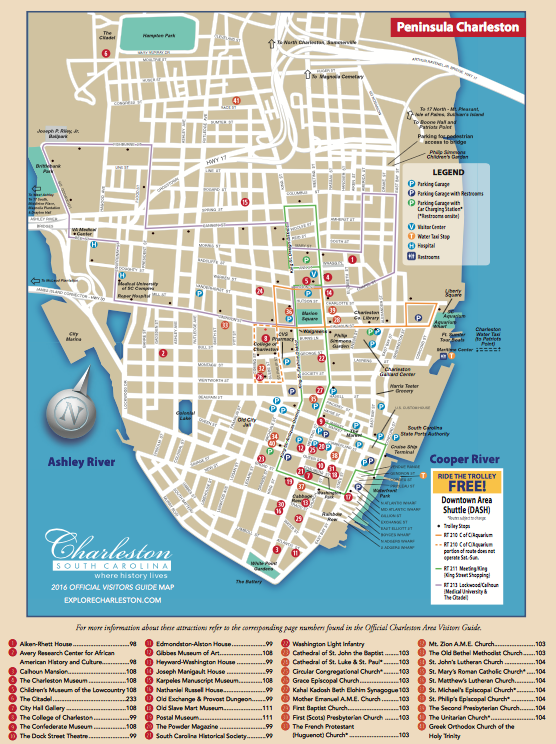 Map of Downtown Charleston, SC