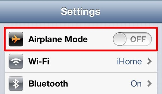 cell phone on airplane mode