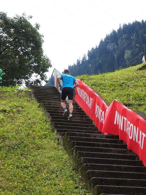 stay fit by on the stairs