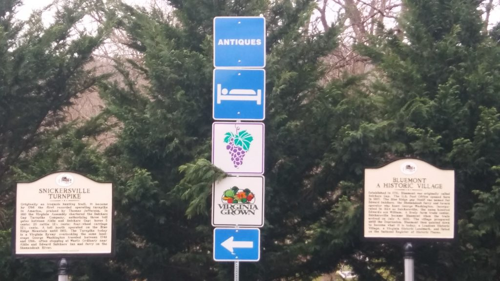 Signs with the grape cluster can be seen all over Virginia, indicating that a winery is nearby.