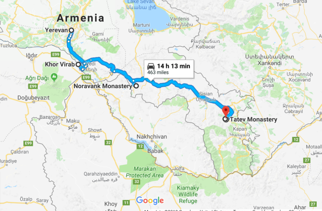 Armenia Road Trip Route