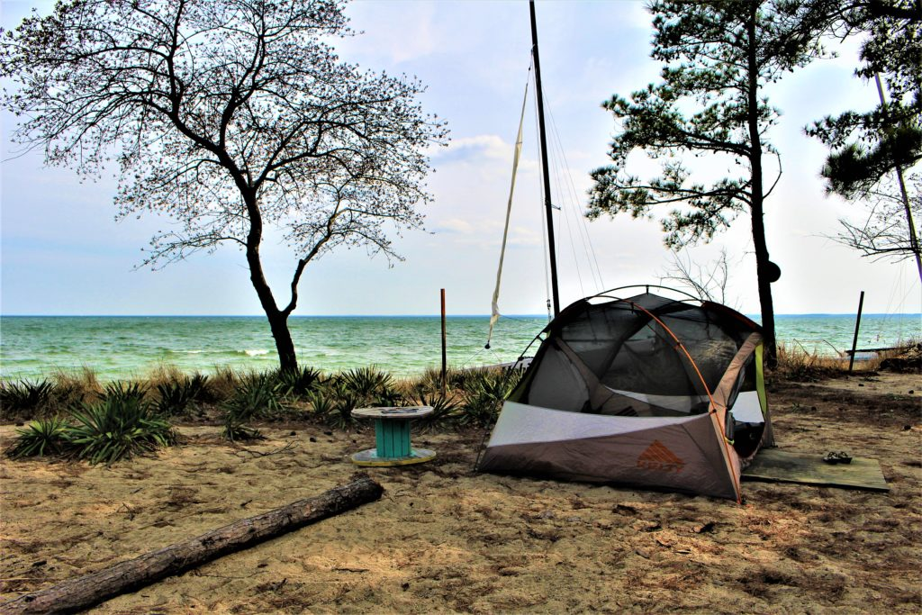 My campsite right by the water. Got the breeze and could hear the waves crashing :)
