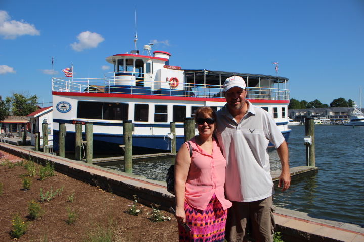 A Traveling Broad & her Dude in front of the Patriot Cruise boat