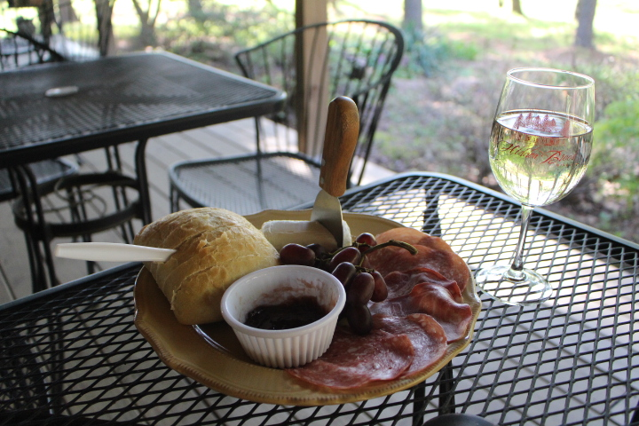 A snack platter from Hidden Brook Winery with cheese, salami, bread & jam. Yum!