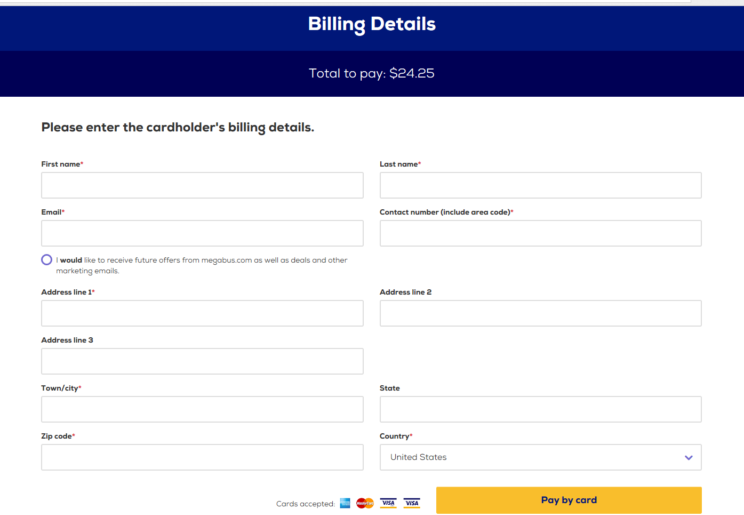 Wanderu Billing Options