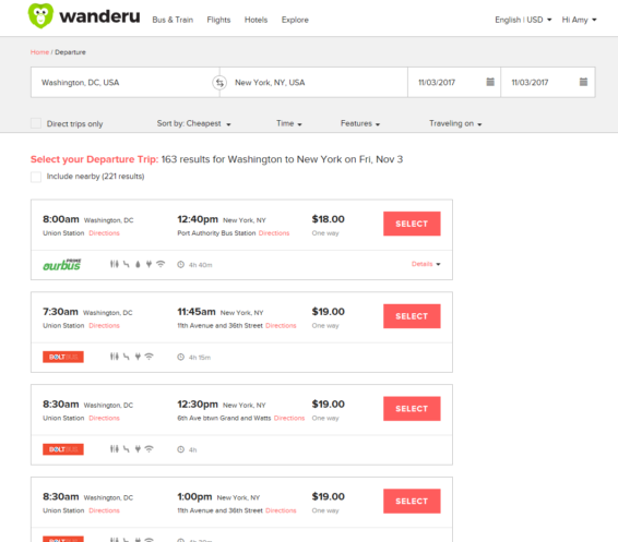 Wanderu Search Results