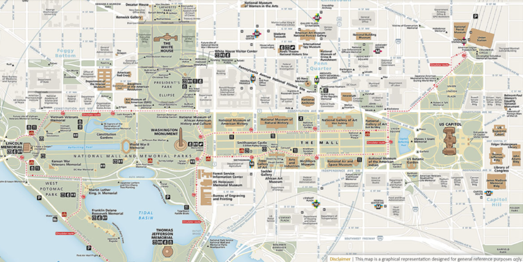 Map of the National Mall - DC