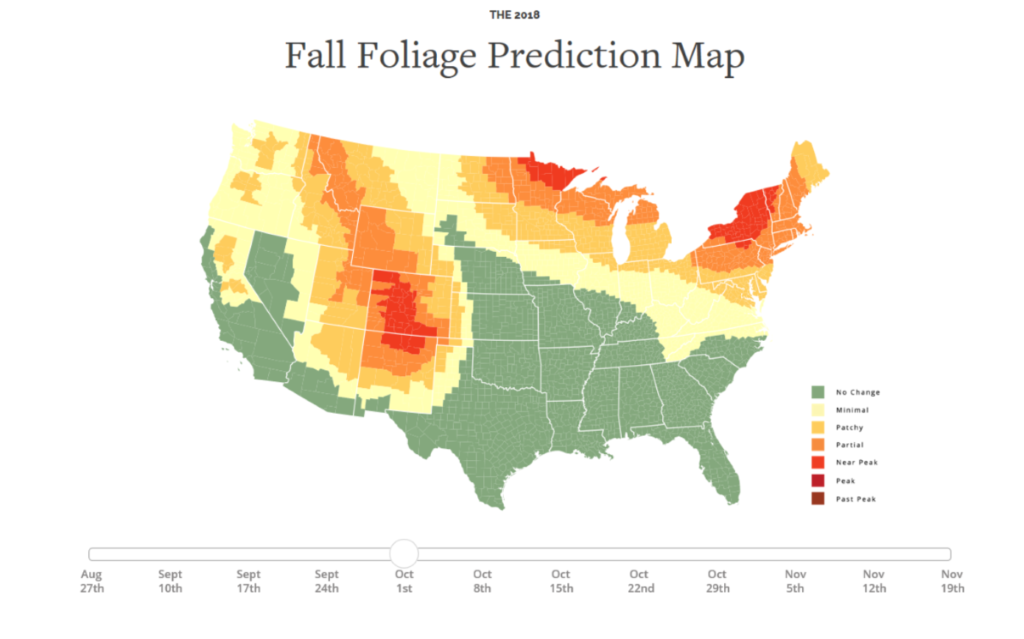 2018 Fall Foliage Prediction Map