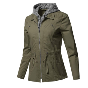 Women's Casual Detachable Hooded Military Jacket