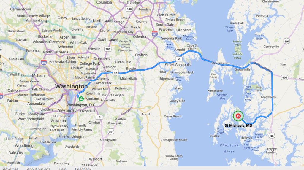 map from dc to st. michaels md