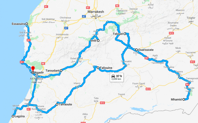 Morocco Road Trip Route